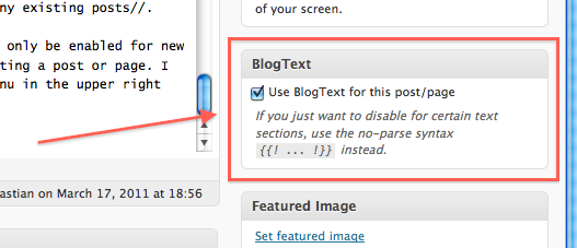 the BlogText meta box