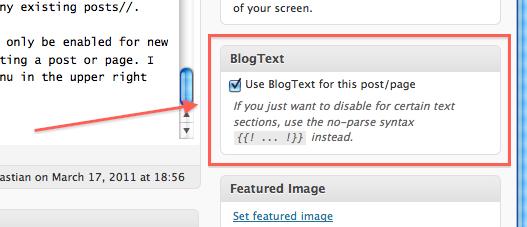 the BlogText meta box
