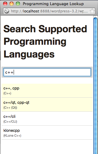 Window to lookup all supported programming languages.