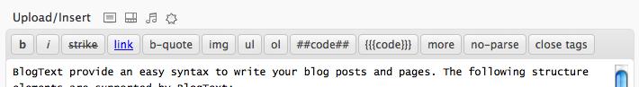 BlogText editor buttons